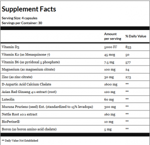Prime Male Supplement Facts
